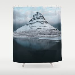 Iceland Mountain Reflection - Landscape Photography Shower Curtain