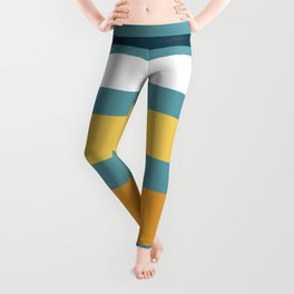 Wide Stripes in Turquoise Blue White Mustard Yellow and Orange Leggings