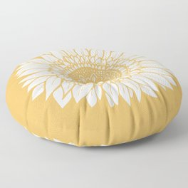 Yellow Sunflower Drawing Floor Pillow