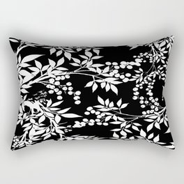 Toile White and Black Tangled Leaves Pattern Rectangular Pillow