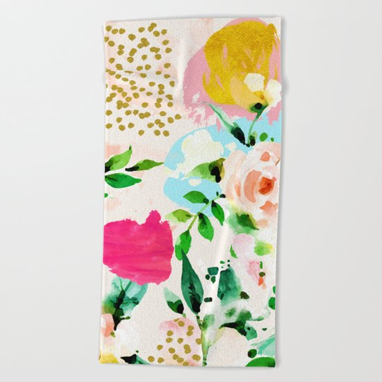 Floral Blush #society6 #decor #buyart Beach Towel