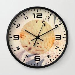 Gorgeous white dahlia Wall Clock