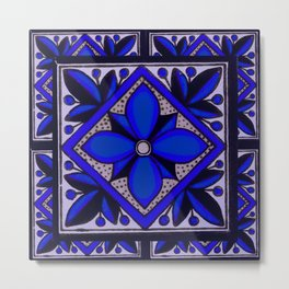 talavera mexican tile in blu Metal Print