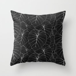 blackwork philodendron leaves Throw Pillow