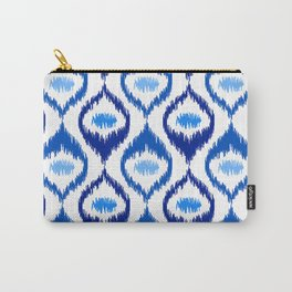 IKAT pattern, indigo blue and white, 07 Carry-All Pouch