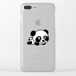 Happy Panda Bear Napping Clear iPhone Case