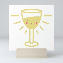 Kawaii White Wine Glass Mini Art Print