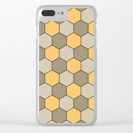 Honeycombs op art beige Clear iPhone Case