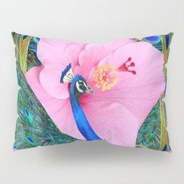 PINK HIBISCUS BLUE PEACOCK PATTERN ART Pillow Sham