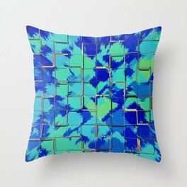 Abstract Squares Blue & Green Throw Pillow