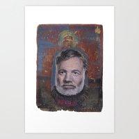 hemingway Art Prints featuring Ernest Hemingway by robertpriseman