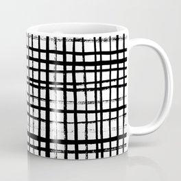 Essie - Grid, Black and White, BW, grid, square, paint, design, art Coffee Mug