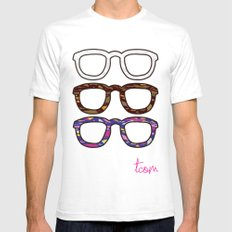 Glasses White SMALL Mens Fitted Tee