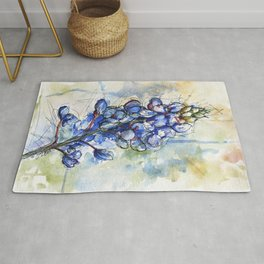 Spring Watercolor Texas Bluebonnet Flowers Rug