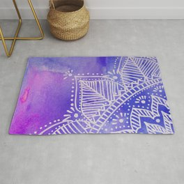 Mandala flower on watercolor background - purple and blue Rug
