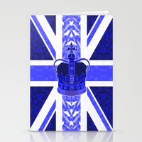 british flag Stationery Cards featuring Royal Blue - British Flag & Crown by Ornaart