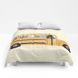 little yellow bus Comforters