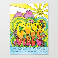 good vibes Canvas Prints featuring Good Vibes by Rachel Beyer
