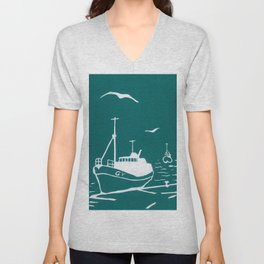 Comrades in Turquoise Unisex V-Neck