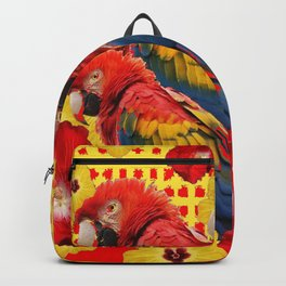 DECORATIVE TROPICAL RED MACAWS & HIBISCUS  FLOWERS Backpack