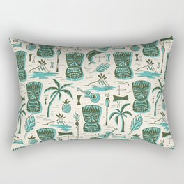 Tropical Tiki - Cream & Aqua Rectangular Pillow