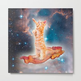 Bacon Surfing Cat in the Universe Metal Print