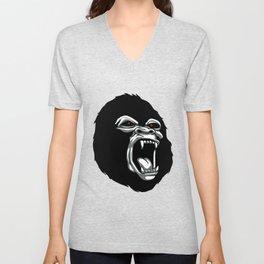 Angry gorilla head. Unisex V-Neck