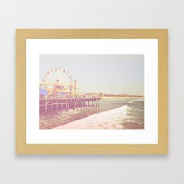 Santa Monica Pier Vintage Framed Art Print