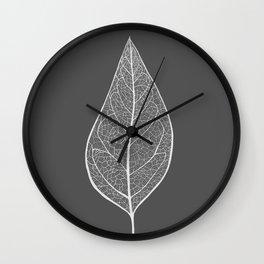 Leaf in Grey Wall Clock