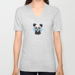 Cute Panda Cub with Fairy Wings and Glasses Blue Unisex V-Neck
