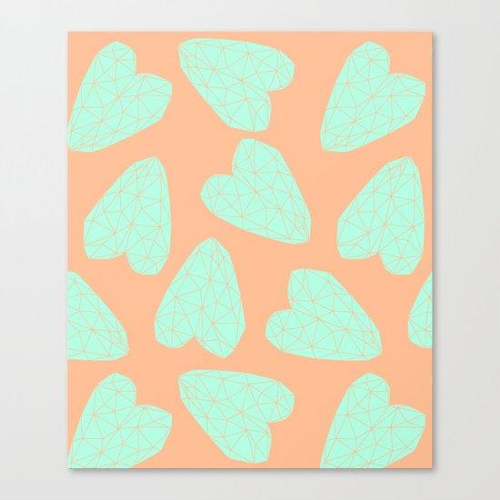 Pastel Hearts Pattern (Love) Canvas Print