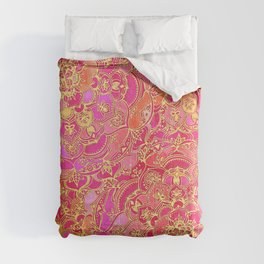 Hot Pink and Gold Baroque Floral Pattern Comforters