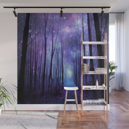 Fantasy Forest Path Icy Violet Blue Wall Mural