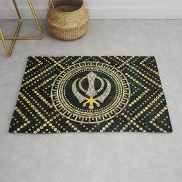 Decorative Khanda symbol with gemstones & gold frame Rug