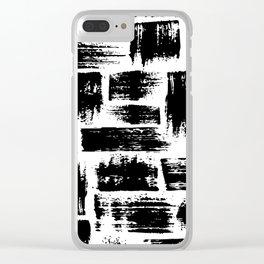 Black brush stripes plaid Clear iPhone Case