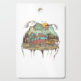Mountains Road Trip Outdoor Camping SUV Adventure T-Shirt - Design Illustration Print Artwork Gift Cutting Board