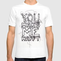 You Make Me Happy MEDIUM White Mens Fitted Tee