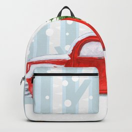 Christmas Red PickUp Truck on a Snowy Road Backpack