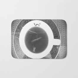 black and white butterfly tea cup Bath Mat