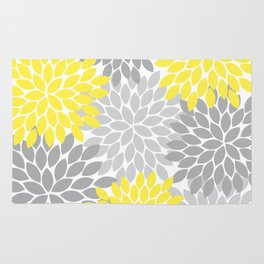 Yellow Gray Flower Burst Petals Floral Pattern Rug