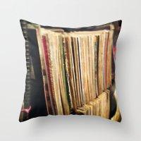 vinyl Throw Pillows featuring Vinyl by strentse