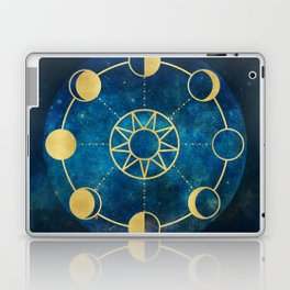 Gold Moon Phases Sun Stars Night Sky Navy Blue Laptop & iPad Skin