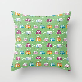 Happy Campers version 2 Throw Pillow