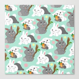 Tiny Tails: Fluffy Bunnies Canvas Print