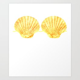 Mermaid Seashell Bra Gold Funny Shell Brassiere Art Print