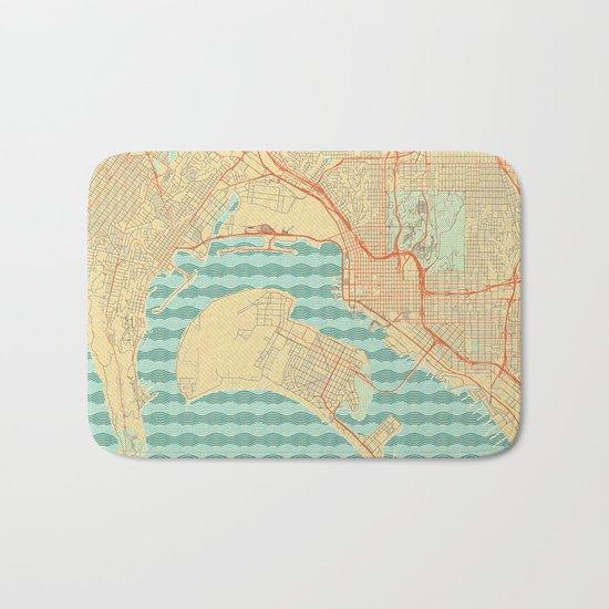 San Diego Map Retro Bath Mat