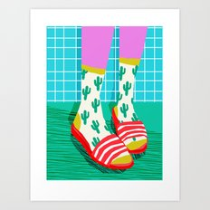 Sliders - memphis throwback retro neon 1980s 80s style pop art shoe fashion grid pattern socks Art Print