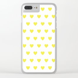 Polka dot hearts - yellow Clear iPhone Case