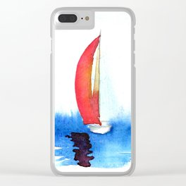 Red Sails on a Calm Sea Clear iPhone Case