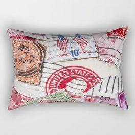 Vintage Red Stamps Rectangular Pillow